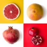 Grapefruit en granaatappel op witte, gele en rode achtergrond fruit en kruiden royalty-vrije stock afbeelding