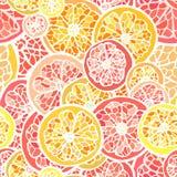 Grapefruit en oranje naadloos patroon Stock Foto's