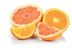 Grapefruit en sinaasappel Stock Afbeeldingen