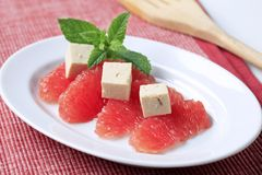 Grapefruit en tofu stock foto