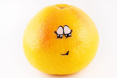 Grapefruit with a face embarrassment Stock Photo