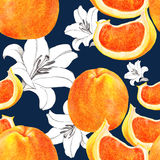 Grapefruit and flower lily, pattern seamless Royalty Free Stock Photo