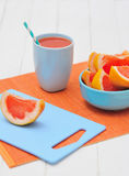 Grapefruit and freshly squeezed juice Stock Photo