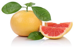 Grapefruit fruit slice slices with leaves  on white. Background Stock Photography