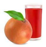 Grapefruit and  grapefruit juice. On white background Stock Image
