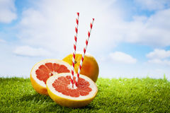 Grapefruit on grass, drinking straw, sunshine and clouds Royalty Free Stock Image