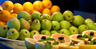 Grapefruit Halves Pears and Oranges Stock Images