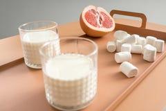 Grapefruit, heemst en glazen met melk Royalty-vrije Stock Afbeeldingen