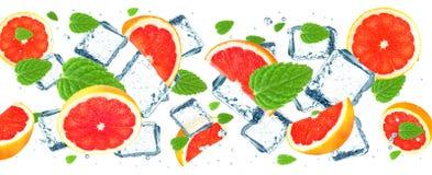 Grapefruit and ice cubes Stock Photos