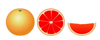 Grapefruit isolated (simple) Stock Images