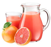 Grapefruit juice en vruchten. Royalty-vrije Stock Afbeeldingen