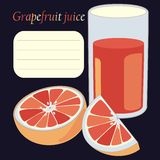Grapefruit and juice in glass Royalty Free Stock Photos