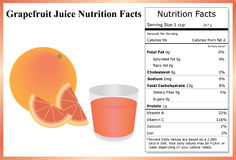 Grapefruit Juice Nutrition Facts Stock Photos