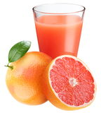 Grapefruit juice with ripe grapefruit Royalty Free Stock Images