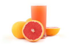 Grapefruit juice and ripe grapefruits Stock Photo