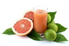 Grapefruit, kalk en sap. royalty-vrije stock fotografie