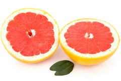 Grapefruit and leaf Royalty Free Stock Images