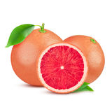 Grapefruit with leaf isolated on white background. With clipping path. Full depth of field. Stock Photo