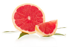 Grapefruit with leaves Royalty Free Stock Photography