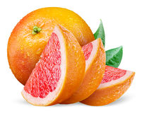 Grapefruit with leaves and slices on white Stock Image