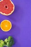 Grapefruit, lemon with broccoli royalty free stock photos