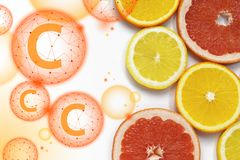 Grapefruit and lemon slices on white background. Tropical bright juicy fruit vegetarian healthy dietary supplement of. Vitamin C flat lay banner art stock photography