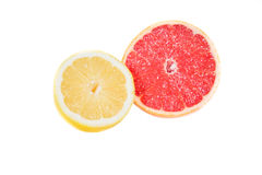Grapefruit and lemon on a white background, texture Royalty Free Stock Image