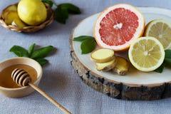 Grapefruit and lemons with honey Royalty Free Stock Photo