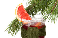 Grapefruit Mulled Wine (Punch) with tied scarf Royalty Free Stock Photos