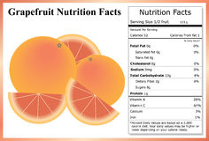 Grapefruit Nutrition Facts. Whole and sliced grapefruit with a nutrition label Royalty Free Stock Image