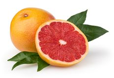 Grapefruit op wit stock foto