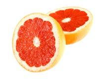 Grapefruit op wit met weg Stock Fotografie