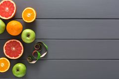 Free Grapefruit, Orange And Apple With Measuring Tape Royalty Free Stock Image - 100968006