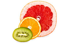 Grapefruit,orange,kiwi isolated Royalty Free Stock Photos