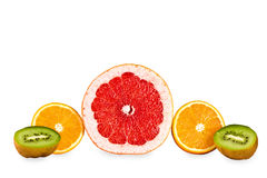 Grapefruit,orange,kiwi isolated Stock Photos