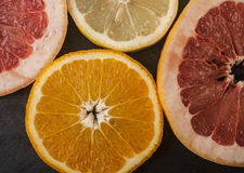 Grapefruit orange lemon Stock Photos