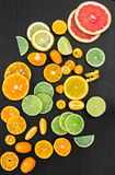 Grapefruit, orange, tangerine, lemon, lime and kumquat on black Stock Photos