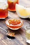 Grapefruit, oranje jam, confiture stock foto's