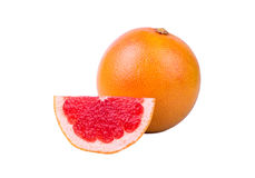 Grapefruit a piece. A grapefruit a piece on a white background Royalty Free Stock Photography