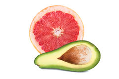 Grapefruit and ripe avocado Royalty Free Stock Images