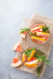 Grapefruit rosemary fresh infused water detox drink cocktail lemonade Royalty Free Stock Images