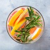 Grapefruit rosemary fresh infused water detox drink cocktail lemonade Royalty Free Stock Photos