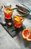 Grapefruit and rosemary gin cocktail, refreshing drink. With ice Stock Image