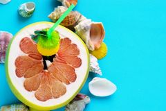 A grapefruit with shells on the sand, a cocktail of exotic fruits and natural juice, a tube for cocktails. A grapefruit with shells on the sand, a cocktail of stock photos