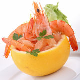 Grapefruit and shrimp salad Royalty Free Stock Photo