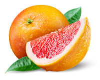 Grapefruit with slice on white Stock Image