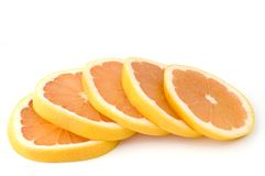 Grapefruit slices. Isolated grapefruit slices on white background Stock Photo