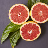 Grapefruit slices. Grapefruit halves on a slate background Stock Image