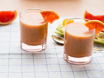 Grapefruit smoothie with banana, oats and tofu Royalty Free Stock Image