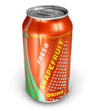 Grapefruit soda drink in metal can Royalty Free Stock Images